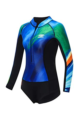 AXESEA Women's Wetsuit One Piece Shorty Wetsuit 2mm Eco Friendly Neoprene Long Sleeve Front Zipper Water Suits for Diving Surfing Kayaking Canoeing Snorkeling