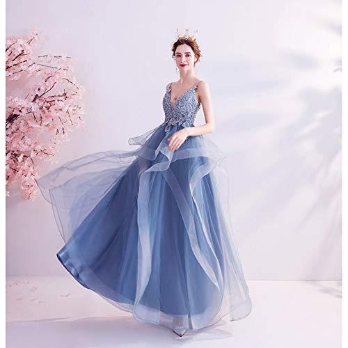 BINGQZ Damesmode, Jurken dames, Formele kostuums dames, Blauwe gala jaarlijkse bijeenkomst prestaties host trouwjurk