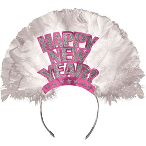 "Amscan Happy New Year Feather Tiara Headband, 12"" x 12"", Hot Pink"