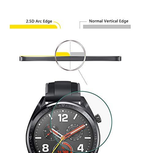 NEWZEROL Ersatz für Huawei Watch GT / GT Active Panzerglas Schutzfolie , [4 Pack] (46 mm) 2.5D Arc Edges 9H Glas Displayschutz Anti-Kratzer blasenfrei Schutzfolie - [Lebenslange Ersatzgarantie] - 2