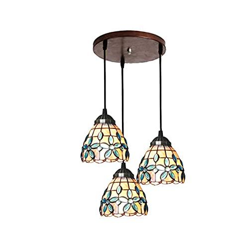 Lámpara de araña de múltiples cabezas estilo Tiffany, estilo americano, lámparas colgantes de cristal manchado simples, sala de estar, dormitorio decorativo techo lámpara colgante E26/E27
