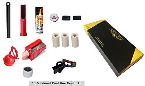Gator by Champion Sport Co Pool Cue Repair Tip Kit-2x Tip Clamp, 2 X Cue Tip Shaper, 3 X Cue Tip, 3X Ferrules, 1 X Chalk Holder, 1x Glue,