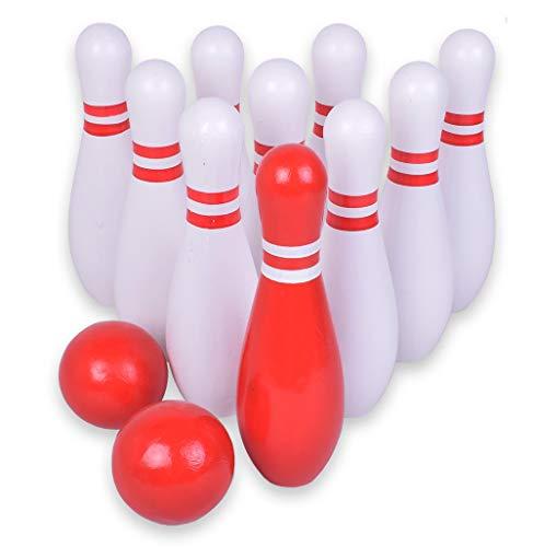 BeBuy24 Bowlingspiel Kegelspiel Bowling Spiel Kegel aus Holz 18 cm draussen Trinkspiel