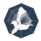 Danger Shark Silhouettes Set Paraguas de Viaje Compacto: a Prueba de Viento, toldo Reforzado, Mango ergonómico, Apertura automática Cerrar