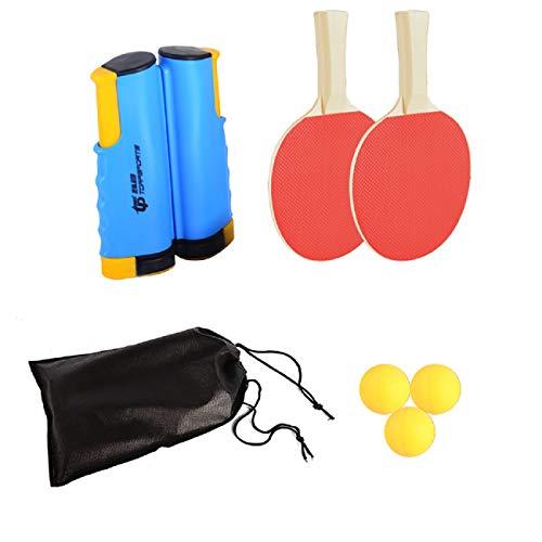 FOOING Juego de Red de Tenis de Mesa, 3 Pelotas de Ping Pong, 1 par de Palas de Tenis de Mesa, Accesorio retráctil instantáneo para Raqueta, Portátil para Interior al Aire Libre Regalo (Azul)