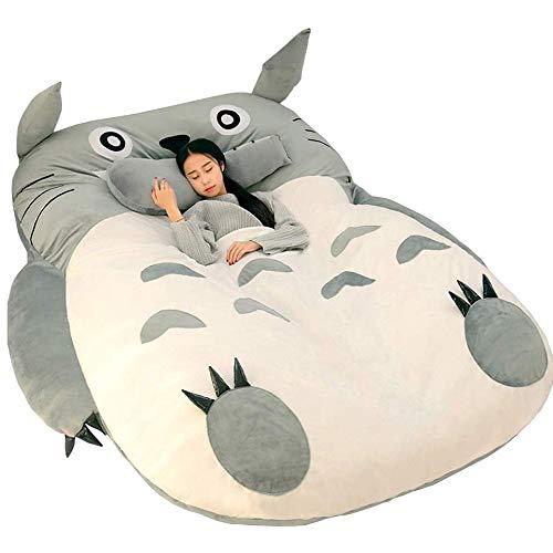 VIVICL MaterassoTatami Sacco a Pelo Totoro Traspirante Divano Letto per Bambini Bella Creativo Dormitorio Materasso Pieghevole Piccola Camera da Letto Divano Letto Sedia,130 * 200cm