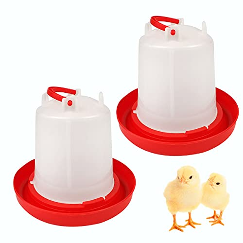DoubleWood 2PACK Plastic Poultry Drinker Chick Waterer Kit 1.5 L Waterer Hanging Poultry Water Container