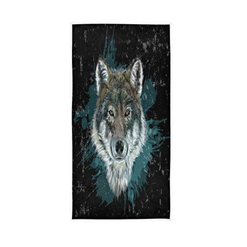 F17 Toalla de mano con estampado de animales de lobo de 30 x 15 pulgadas para el hogar, cocina, baño, gimnasio, natación, spa