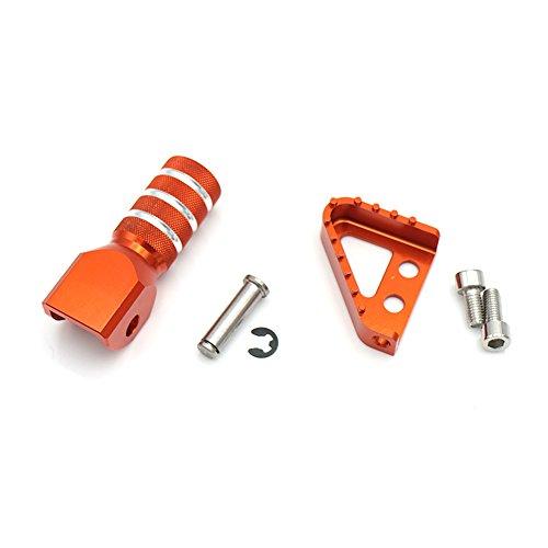 Motorrad CNC Hinten Bremspedal Schritt Platte Tipp + Schalthebel Schalthebel Für 125-530cc 950 SUPERENDUROR 690 SMC (orange)