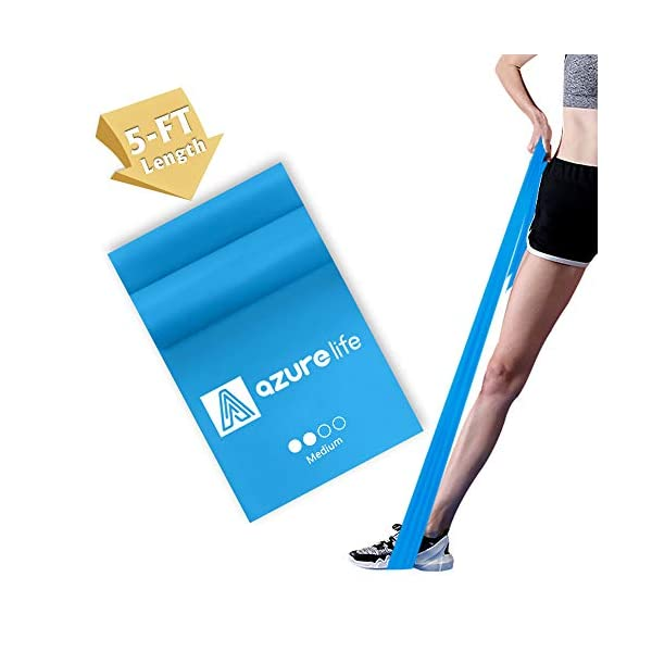 A AZURELIFE Resistance Bands, Professional Non-Latex Elastic Exercise Bands, 5 ft....