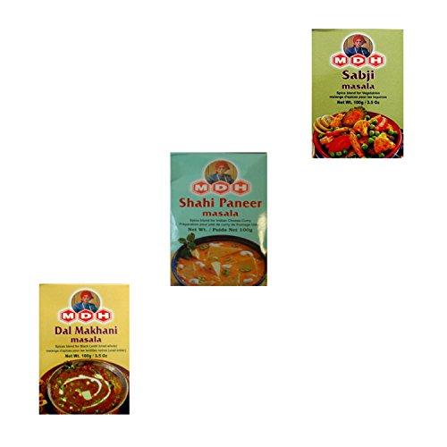 3 Gewürzen für berühmte indische Köstlichkeiten -MDH Dal Makhani Masala,Shahi Paneer Masala, Sabji Masala Inhalt 300 g