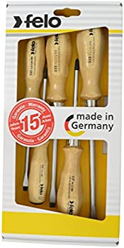 5-Pieces Felo Slotted & Phillips Wood Handle Screwdriver Set