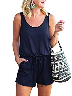 ANRABESS Women's Summer Solid Casual Sleeveless Rompers Jumpsuits A209zangqing-M