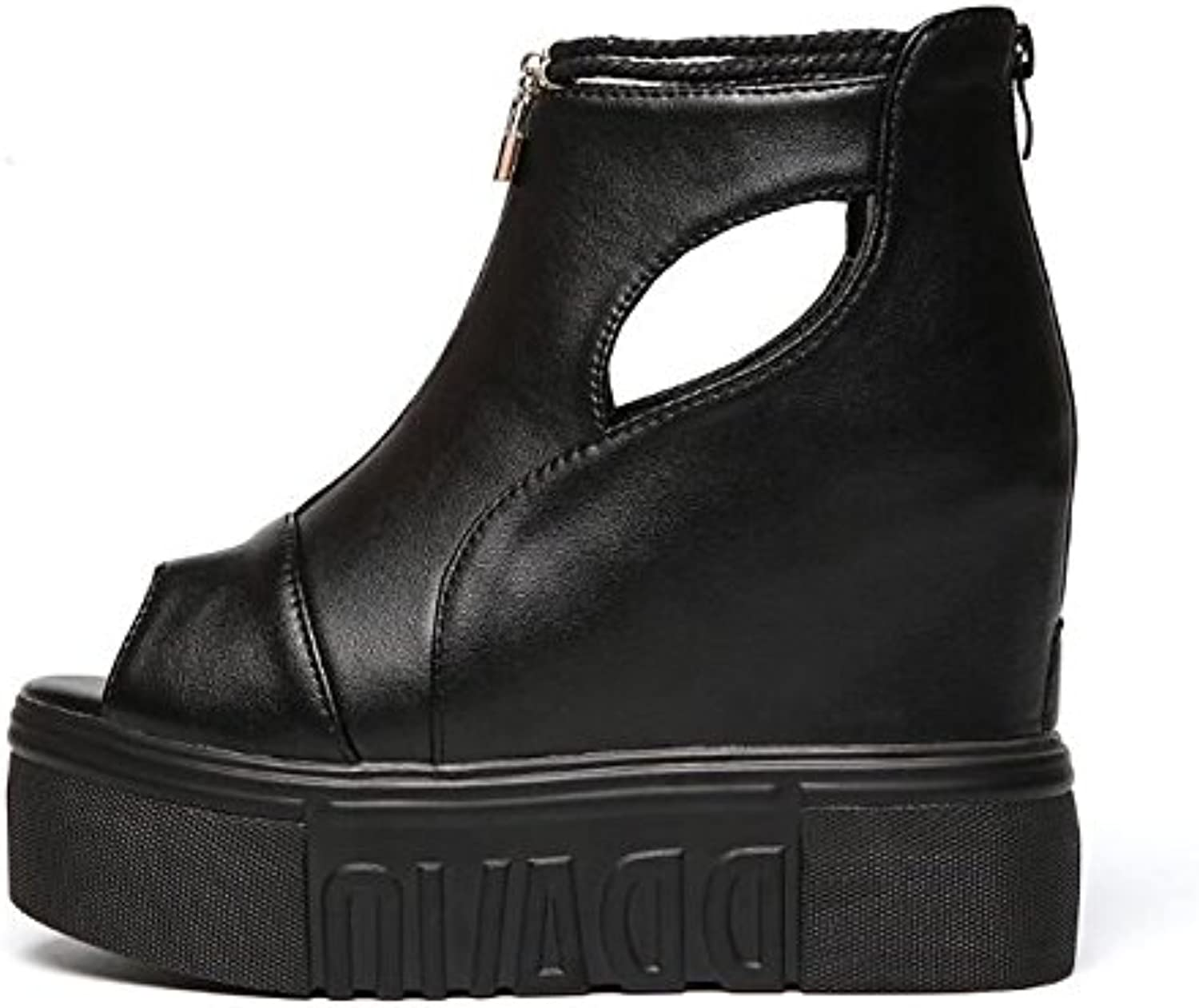 HSXZ Women's shoes PU Spring Fall Comfort Boots Creepers Booties Ankle Boots for Casual Black