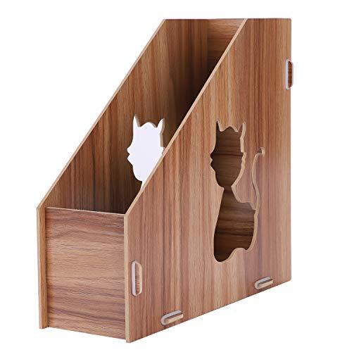 Revistero de madera para escritorio con diseño de gatitos, organizador de archivos, A4, de un solo color