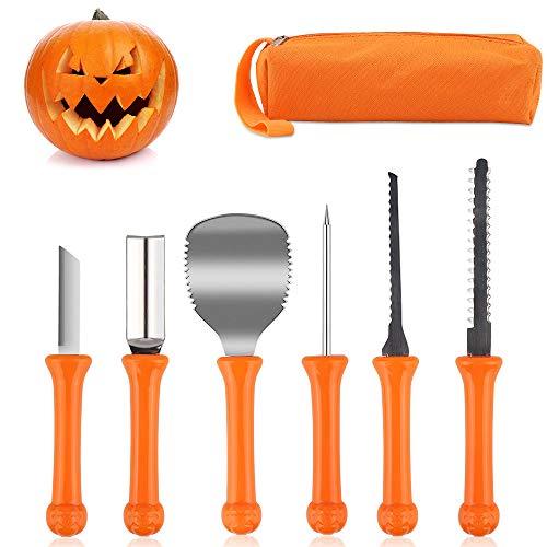 HOSPAOP Halloween Kürbis Schnitzset, 6 Stück Schnitzwerkzeug mit Aufbewahrungskoffer, Professionelles von Edelstahl Pumpkin Carving Tools Set für Halloween DIY Handwerk für Kinder und Erwachsene