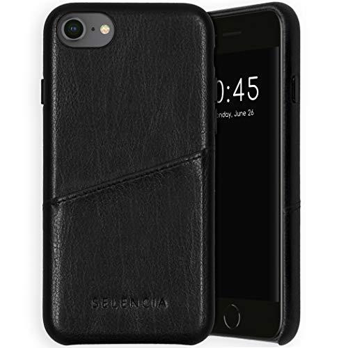 Selencia Vayu Veganes - Funda para iPhone 6/6S/7/8/SE 2020 de piel trasera – Funda para teléfono móvil en negro [forro de microfibra, 1 ranura para tarjeta]