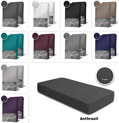 one-home 2er Pack Frottee Spannbettlaken Spannbetttuch 90x200 140x200 180x200 Baumwolle, Farbe:Anthrazit, Maße:90x200 cm - 100x200 cm