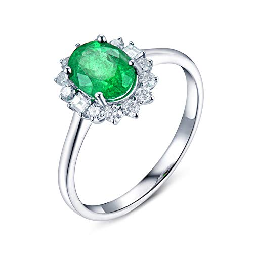 KnSam 18K White Gold Ring Flower 4 Prong Oval Cut Green Emerald 0.8ct VS and 0.24ct Diamond Silver Ring Size I 1/2