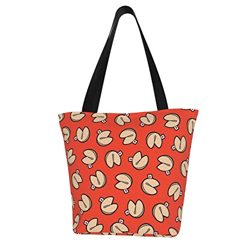 Fortune Cookies Pattern Reusable Grocery Shopping Tote Bags Ecofriendly Portable Storage Handbag With Zipper