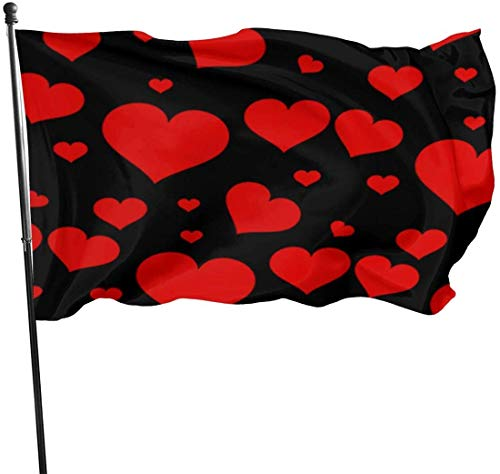 Viplili Flagge/Fahne, Heart Pattern Png Fahnen Flaggen Durable Fade Resistant Decorative Flags Premium Flag with Grommets Polyester Deluxe Outdoor Banner for All Seasons & Holidays- 3X5 Ft