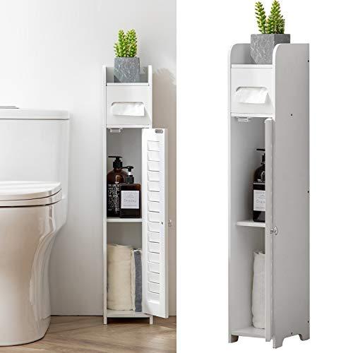 HuiDao Bathroom Floor Cabinet Wooden Corner Cabinet Toilet Side Organizer Storage Cabinet with Door Shelf and Paper Holder, White
