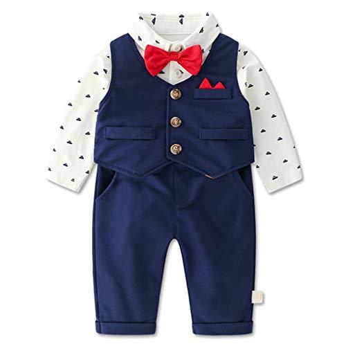 Baby Jungen Bekleidungssets, Gentleman Anzug Neugeborenen Taufkleider Kleidung Sets Polo Body + Fliege + Weste + Hose, 3-6 Monate