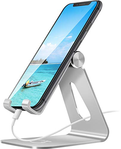 Gritin Phone Stand, Adjustable Phone Holder Stand Dock - Full Aluminum Desktop Holder Stand for iPhone 12 Mini, 12 Pro Max, 11 Pro, XR X XS 8 7 6 Plus, HUAWEI, Galaxy S10 S9 S8 and more