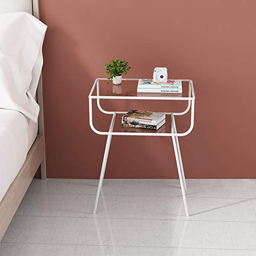 Mirrored Bedside Tables, Metal Modern Side Tables Living Room Decoration Console Table Girl Dressing Table Size: 48.5 * 33 * 60CM(Color:white)