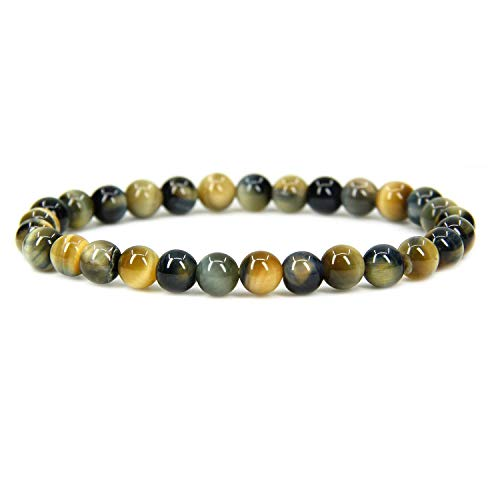 Natural Golden Blue Tiger Eye Gemstone 6mm Round Beads Stretch Bracelet 7' Unisex