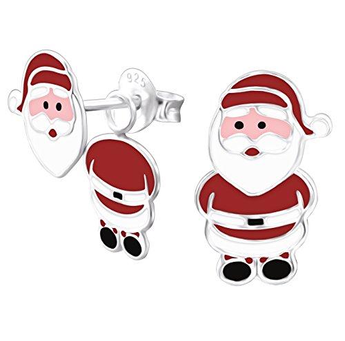 Sterling Silver Christmas Santa Earrings Gift - 3D effect