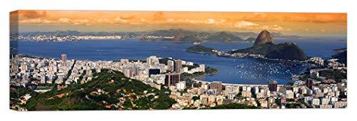 LuxHomeDecor Cuadro Rio de Janeiro de 100 x 30 cm, impresión sobre lienzo con marco de madera, decoración artística moderna