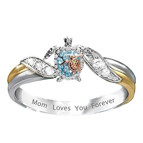 Anillo de tortuga marina mamá te ama para siempre, collar de diamantes para mujer más nuevo, joyería de tortuga marina para la salud y la longevidad, para mujeres niñas regalo del día de la madre