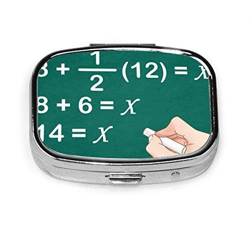 DODOD GRTING Matemáticas Fórmula Píldora Estuche 2 compartimentos Estuche para medicamentos Portátil de viaje Cuadrado Pastillero Organizador para bolsillo Monedero Necesidades diarias