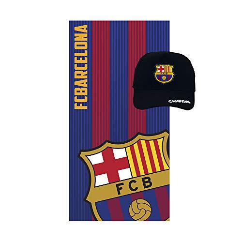 Pack Especial Regalo Toalla de Microfibra para Playa, baño, Trading,Gimnasio + Gorra Adulto con Visera FCB Barcelona.
