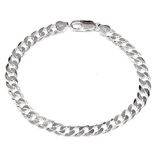 TreasureBay Mens Solid 925 Sterling Silver Chain Bracelet - 7mm Width (21CM)