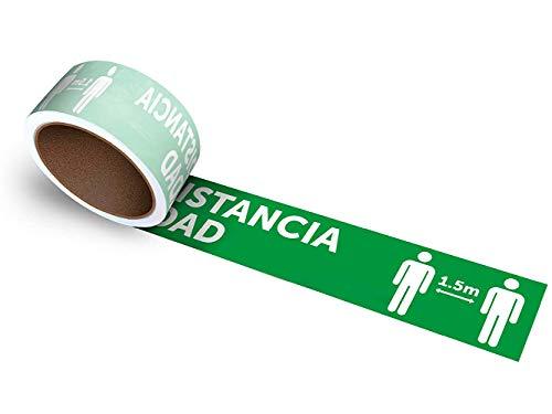 Oedim Rollo de 25 uds. De vinilos Adhesivos para Suelo   Adhesivo para Exteriores   100x10cm con el Texto: Mantenga LA Distancia DE Seguridad