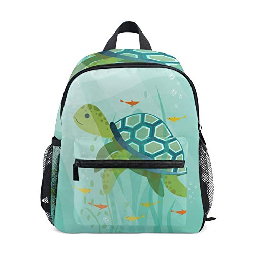 Animal Sea Turtle Toddler Backpack Bookbag Mini Shoulder Bag for 1-6 Years Travel Boys Girls Kids with Chest Strap Clip Whistle
