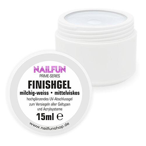 Finish Gel milchig weiss [15ml] mittelviskoses hochglänzendes Abschlussgel Versiegelungsgel