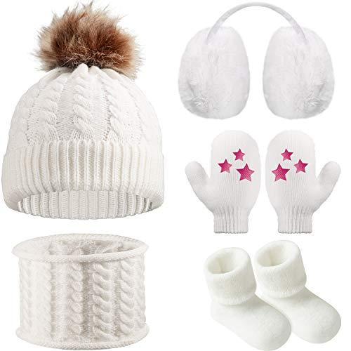 Gorro Bufanda de Invierno de Bebé Orejeras Mitones Calcetines de Niños Pequeños, Conjunto Caliente de Invierno de Bebé 5 Piezas (Blanco)