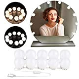 Lumiere Coiffeuse, Lampe Coiffeuse LED(2 Couleur+10 Luminosité), Lumiere Miroir Hollywood Style Vanity Mirror lights avec USB Powered 10 Dimmable Ampoule pour Miroir, Maquillage, Salle de Bain