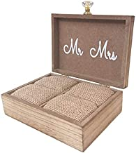 """Touch Collection """"Always & Forever"""" Mr. and Mrs. Wooden Rustic Wedding Ring Box with Burlap Pillow Lining, Ring Holder, Decorative Box, Ringbearer Box, Jewelry Box - L6""""xW5""""xH2"""""""