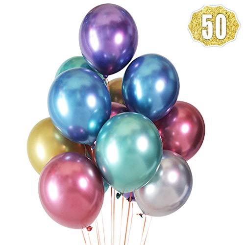 Feelairy Globos Metálicos Multicolores, 50 Piezas Globos de Helio Color Metal Brillante Globos de Cromo Brillante Globos Cromados Antiguos Decoración para Cumpleaños, Bodas, Baby Showers y Navidad
