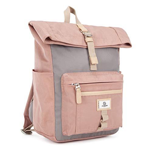 SEVENTEEN LONDON – Moderner und stilvoller 'Canary Wharf Mini' Rucksack in rosa & grau mit einem klassischen gefalteten Roll Top Design – perfekt für iPads/Tablets