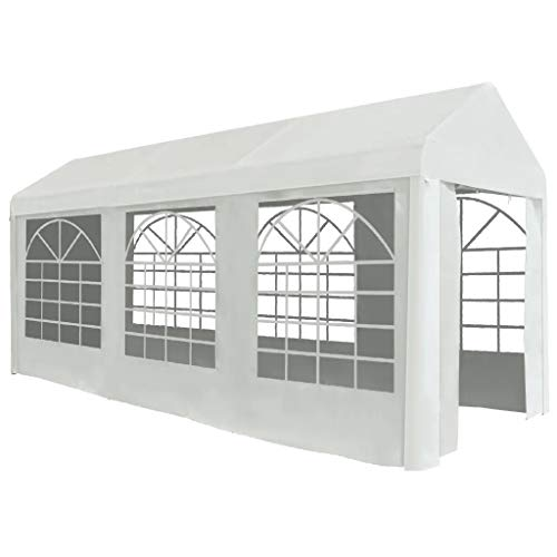 ZAMAX Waterproof PE Material Party Tent Garden Marquee for Wedding, Party, BBQ, Camping Trip and Festival, Steel Frame Outdoor Shelter with Window and Rolled Up Door, White