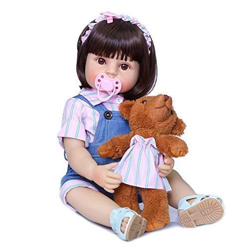 Zero Pam 22inch Reborn Baby Dolls Silicone Vinyl Full Body,55cm Anatomically Correct Girl Dolls,Baby Birthday Gifts with Pacifier and Bottle... (Caucasion Girls Dolls) -  NANJING KERUITA INTERNET TECH CO.,LTD