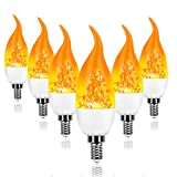 6 Pack E12 LED Flame Effect Light Bulbs - 2020 Upgrade 4 Modes with Upside Down Effect - E12 LED Flickering Candelabra Light Bulbs for Indoor/Outdoor/Hotel/Party/Bar Decorations