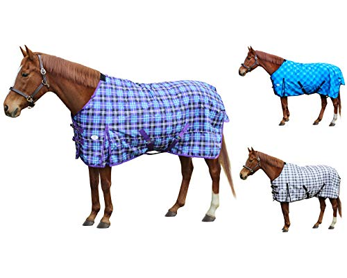 Derby Originals Arctic Purple Plaid 1200D Ripstop Waterproof Reflective Winter Horse Turnout Blanket 300g Heavy Weight