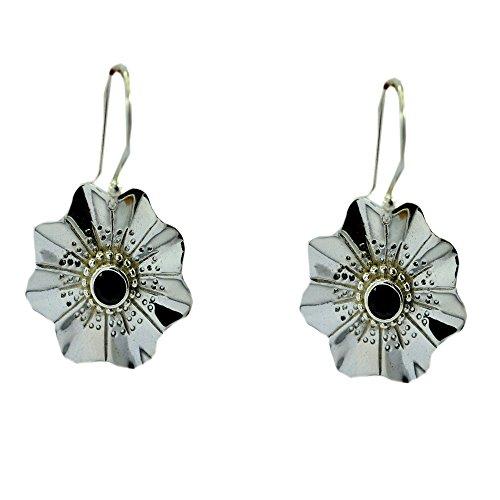 Gemsonclick - Pendientes de cuarzo para mujer, plata de ley, diseño de flores, estilo de gancho