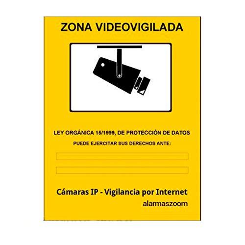 Cartel zona vigilada color amarillo. Diseño homologado para cámaras de vigilancia.Util para comercios, empresas con cámaras de seguridad. Zona vigilada video-vigilada. Cartel informativo (A6, Pegatina)